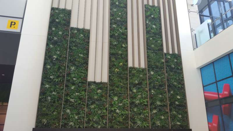 Artificial Vertical Garden gateway shopping centre supplied by Perfect Greens